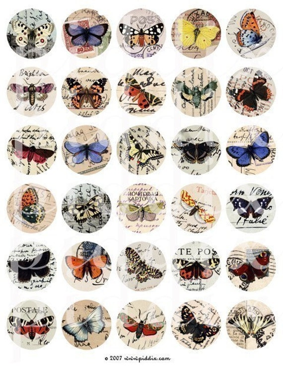 Top Selling Birds, Butterflies and Nature Images in 1.5 inch Circles -- piddix digital collage sheets nos. 65, 142, 143, 160, and 178