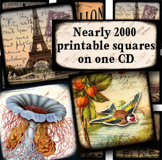 LAST ONE -- Piddix CD volume 5 with Nearly 2000 Squares on 46 Digital Collage Sheets for just 19.95
