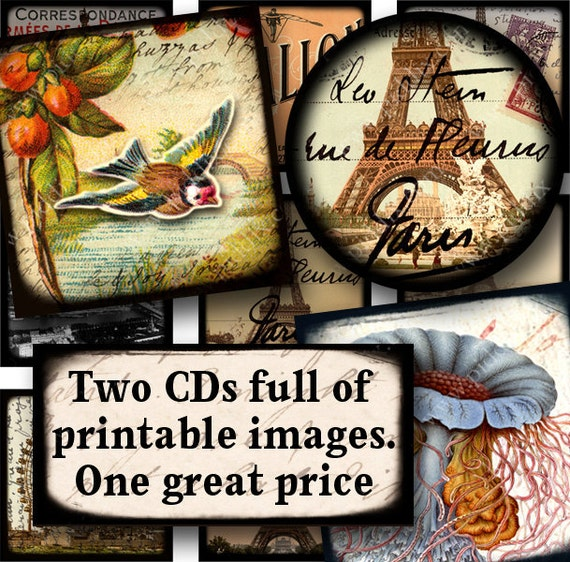 LAST ONE -- Both Piddix Digital Collage Sheet CDs -- Circles and Squares  -- for just 34.95