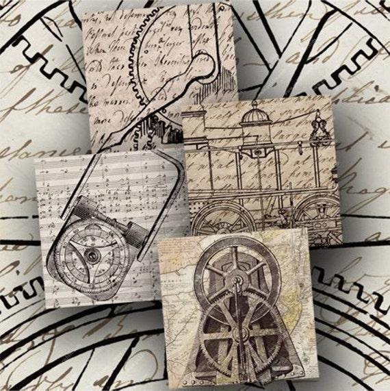 Steampunk Gears on Ephemera in 2.5 inch squares -- piddix digital collage sheet no. 678