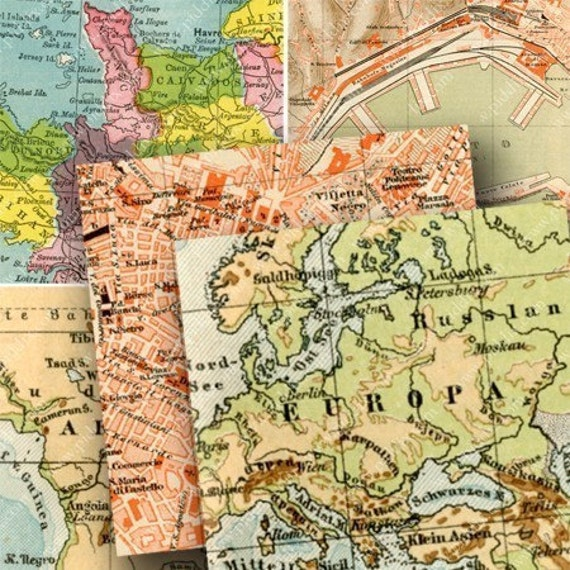 Items similar to World Maps 2.5-inch squares digital ...