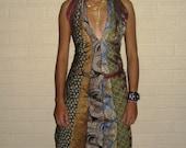 Handmade dress made of ties.