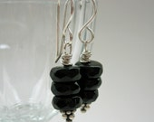 Noir Trois. Three Black Stacked Crystal Rondells Sterling Silver Dangle Earrings Classy Sparkly Dress Up or Down New Years