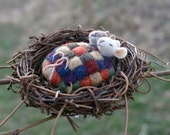 Tiny Mice in Nest with Quilt - needle felted