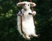 Tiny Sheep Necklace - needle felted