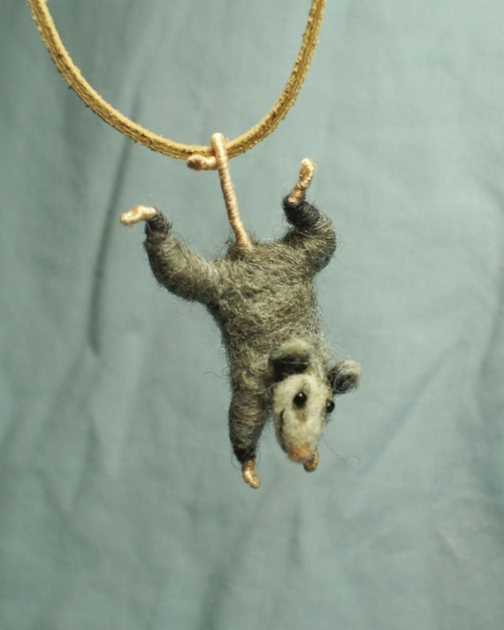 Tiny Possum Necklace - needle felted - SHIPPING INCLUDED