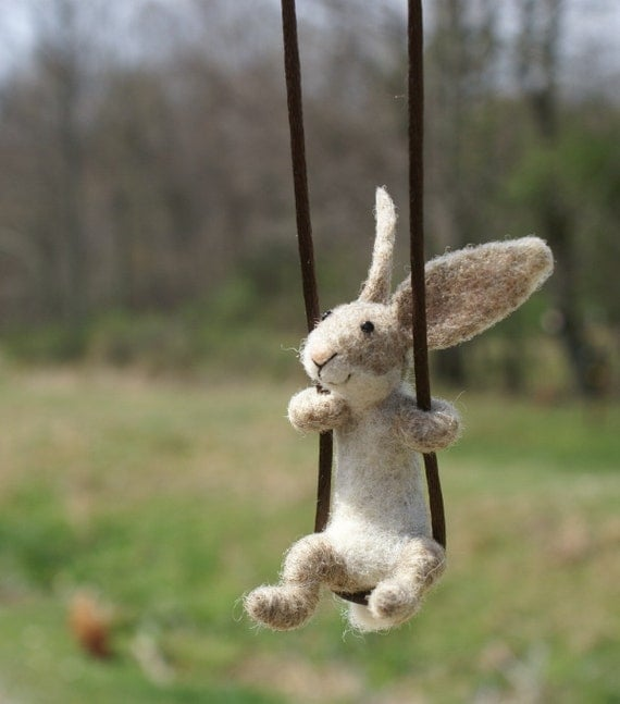 Tiny Rabbit Necklace - needle felted