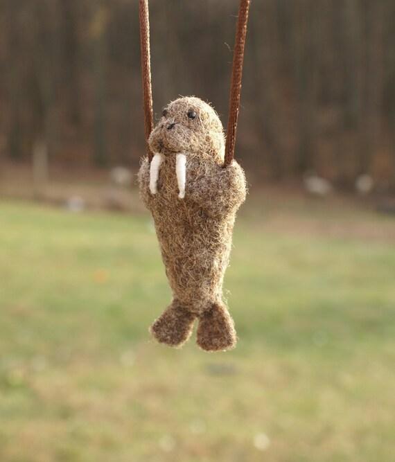 Tiny Walrus Necklace - needle felted