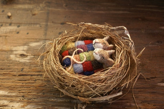 Mice under quilt in bird nest -  needlefelted
