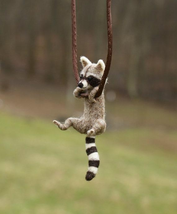 Tiny Raccoon Necklace - needle felted