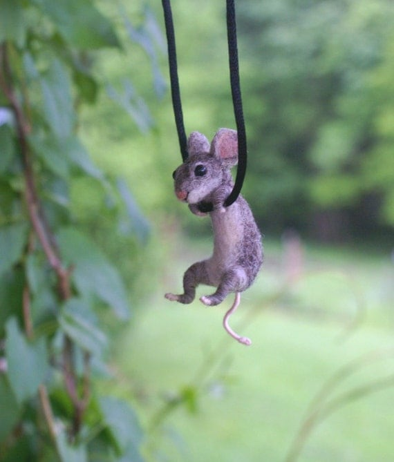 Tiny Mouse Necklace - needle felted