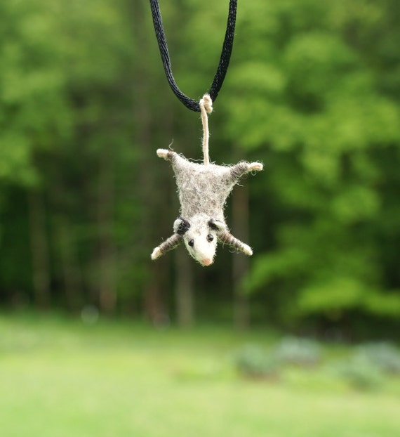 Tiny Possum Necklace - needle felted