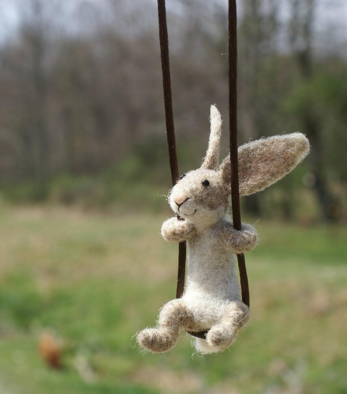 tiny rabbit necklace needle felted. Black Bedroom Furniture Sets. Home Design Ideas