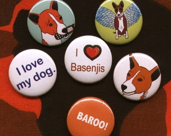 Basenji Pins (set of 6)
