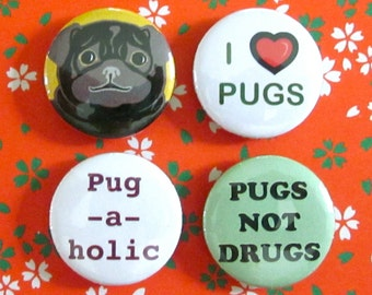 Pug-A-Licious Magnets (Set of 4)