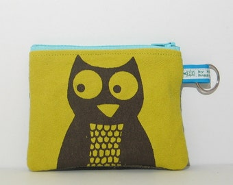 Owl Change Purse in Citron Yellow Green