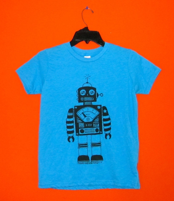 Robot Kids Tee in Neon Blue / Turquoise