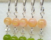 Cantalope Stitch Marker Set for Knitting or Crochet (Customizable with Rings or Hooks)