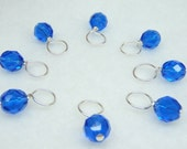 Sapphire Stitch Marker Drops for Knitting (Choose Your Size - Set of 8)