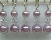 Lavender Pearl Stitch Marker Set for Knitting or Crochet (Customizable with Rings or Hooks)
