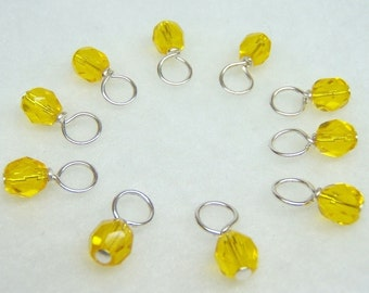 Lemon Butter Droplet Stitch Markers (Choose Your Size - Set of 10)