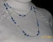 Long Blue and Silver Chain Necklace and Earrings Set