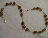 Amber Bead and Gold Chain Necklace and Earrings Set