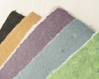 Two sided handmade paper from eco friendly materials, variety of colors available, 8.5 11 inches-Recycled Handmade Paper