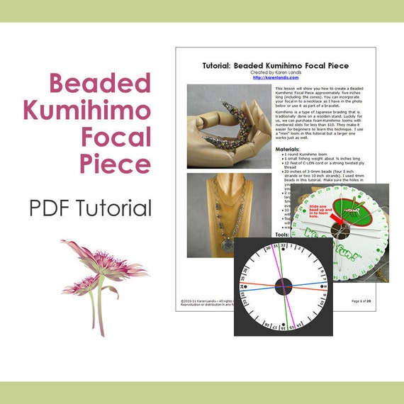 PDF Tutorial: Beaded Kumihimo Focal Piece - Instant Download