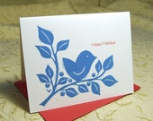 Bird and Branch Letterpress Christmas Holiday Cards