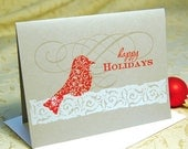 Red Bird Letterpress Christmas Holiday Cards
