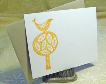 Bird in Tree Letterpress Flat Notes