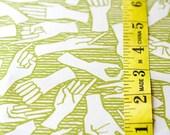 American Sign Language / ASL / Alphabet - Original Hand Drawn Fabric OLIVE GREEN