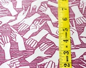 American Sign Language / ASL / Alphabet - Original Hand Drawn Fabric EGGPLANT PURPLE
