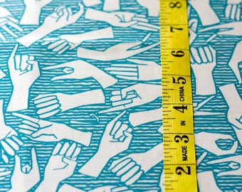 American Sign Language / ASL / Alphabet - Original Hand Drawn Fabric Yardage TURQUOISE