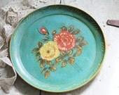 Floral Plate. Occupied Japan decorative hand painted papier mache.
