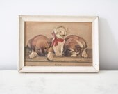 Vintage 1940's Susie cat and dogs embossed print in rustic white frame