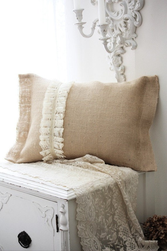 Burlap Romance. Handmade Accent Pillow.