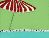 No Tell Motel Series-Vintage Sunbrella Pool Umbrella Painting