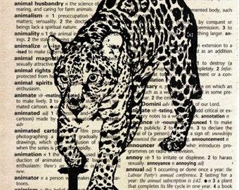 Jaguar - Print on Vintage Dictionary Page