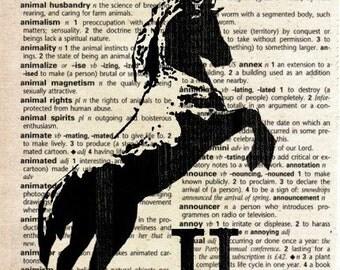 Unicorn - Print on Vintage Dictionary Page