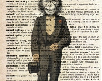 Antique Print on Vintage Dictionary Page - Monkey