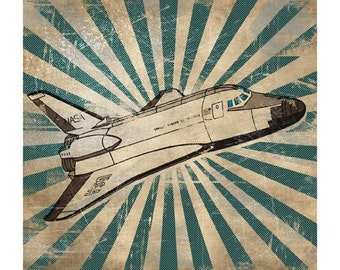 6x6 Retro Space Shuttle Print