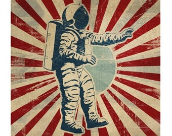 6x6 Retro Spaceman Astronaut Print