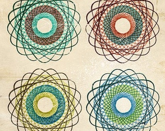 6x6 Abstract Art DONUTS Print No.4