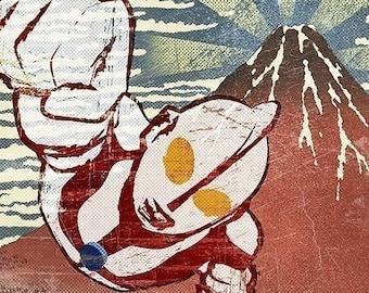 6x6 Ultraman Over Mt. Fuji Print