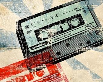 6x6 Cassette Tape Retro Pop Art Print