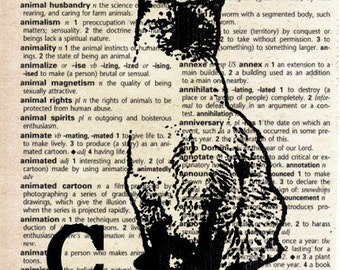 Animal Print on Vintage Dictionary Page - Cat
