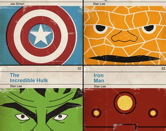 6x6 Set of 4 prints - Classic Vintage Marvel Penguin Book Cover Prints