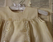 Vintage Yellow Baby Dress - Retro White Stripe Button Top - Clothes Clothing for Baby Girls - Newborn Shower Gift - Unique Party Dress